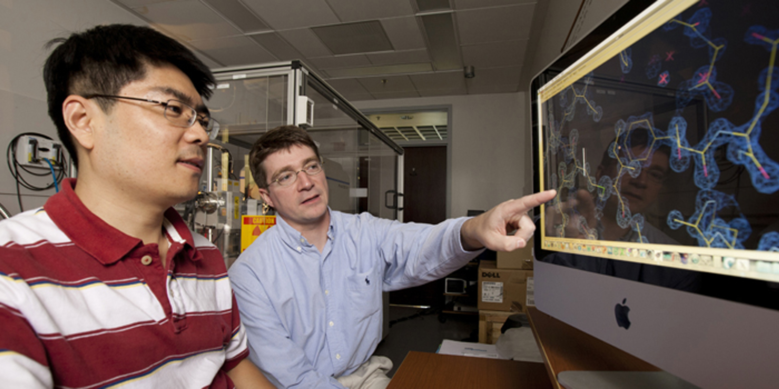 faculty looking at Molecular Mechanisms of Disease images on computer screen